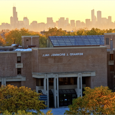 The sun sets over Bernard Brommel Hall.