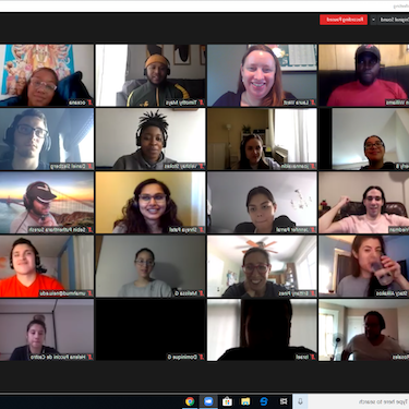 A screenshot of a remote video meeting with 20 participants shown in individual frames